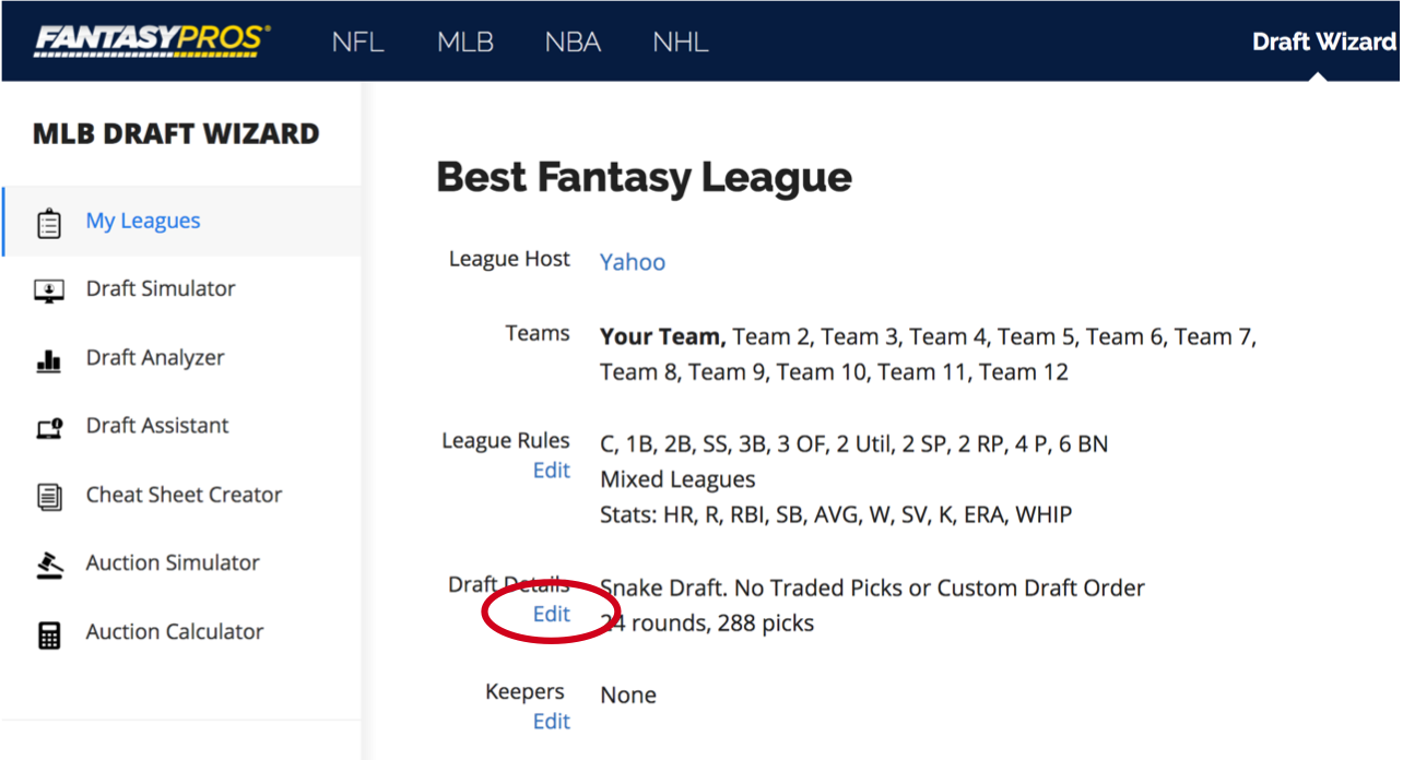 How do I add or change my league's draft order settings? – FantasyPros