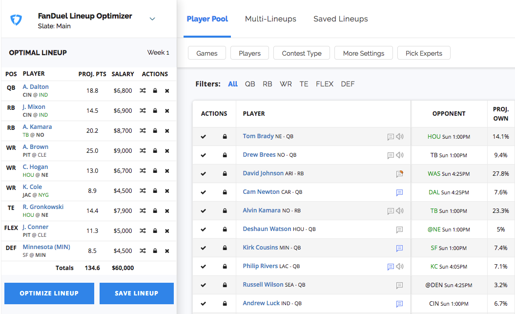 How does the DFS Lineup Optimizer work? – FantasyPros